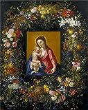 cheat codes for ca - Oil Painting 'Brueghel The Elder Jan Balen Hendrik Van Guirnalda Con La Virgen Y El Nino Ca. 1621' 18 x 23 inch / 46 x 58 cm , on High Definition HD canvas prints, Foyer, Hallway And Nursery decor