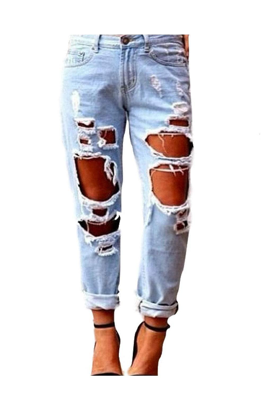 Vaqueros Zonsaoja Mujer Vaqueros Agujero Rotos Casual Suelto Denim Pantalones Jeans Ropa Leitingcuisine Com