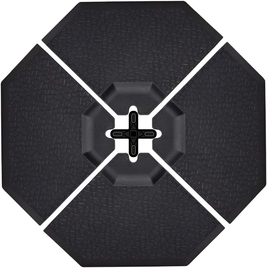 Crestlive Products Patio Offset Umbrella Base Sand Water Filled Weights Universal Umbrella Stand, Octagon 41 x 41 Black