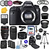 Canon EOS 6D 20.2 MP Full-Frame CMOS Digital SLR Camera w/ Canon 24-105 L Lens + Canon EF 75-300mm f/4-5.6 III Telephoto Zoom Lens + Canon EF 50mm f/1.8 II SLR Lens LP-E6 Replacement Lithium Ion Battery w/ 58mm Macro Close Up Kit 32GB SDHC Class 10 Memory