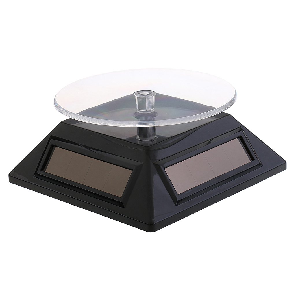 Dovewill Solar Powered Rotating Plate Phone Watch Display Stand Hold Turntable Black - Black, as described
