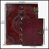Seven Medieval Stone Chakra Leather Journal Notebook with Pentagram Wicca Pagan Pentacle Handbook Embossed Handmade Book of Shadows Notebook Office Diary College Book Poetry Book Sketch Book