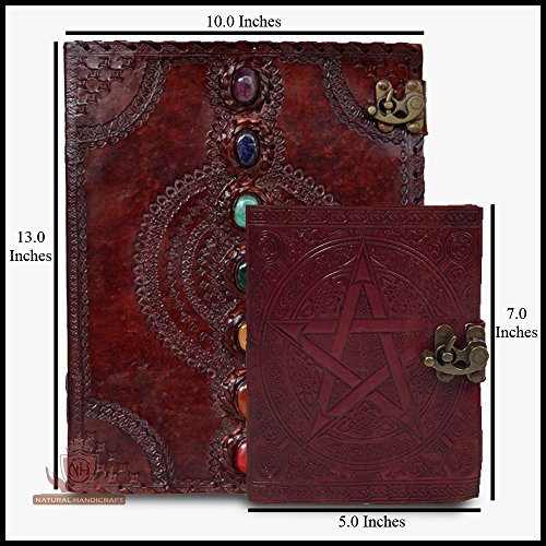 (Seven Chakra Medieval Stone Leather Journal Notebook with Pentagram Wicca Pagan Pentacle Handbook Embossed Handmade Book of Shadows Notebook Office Diary College Book Poetry Book Sketch Book )