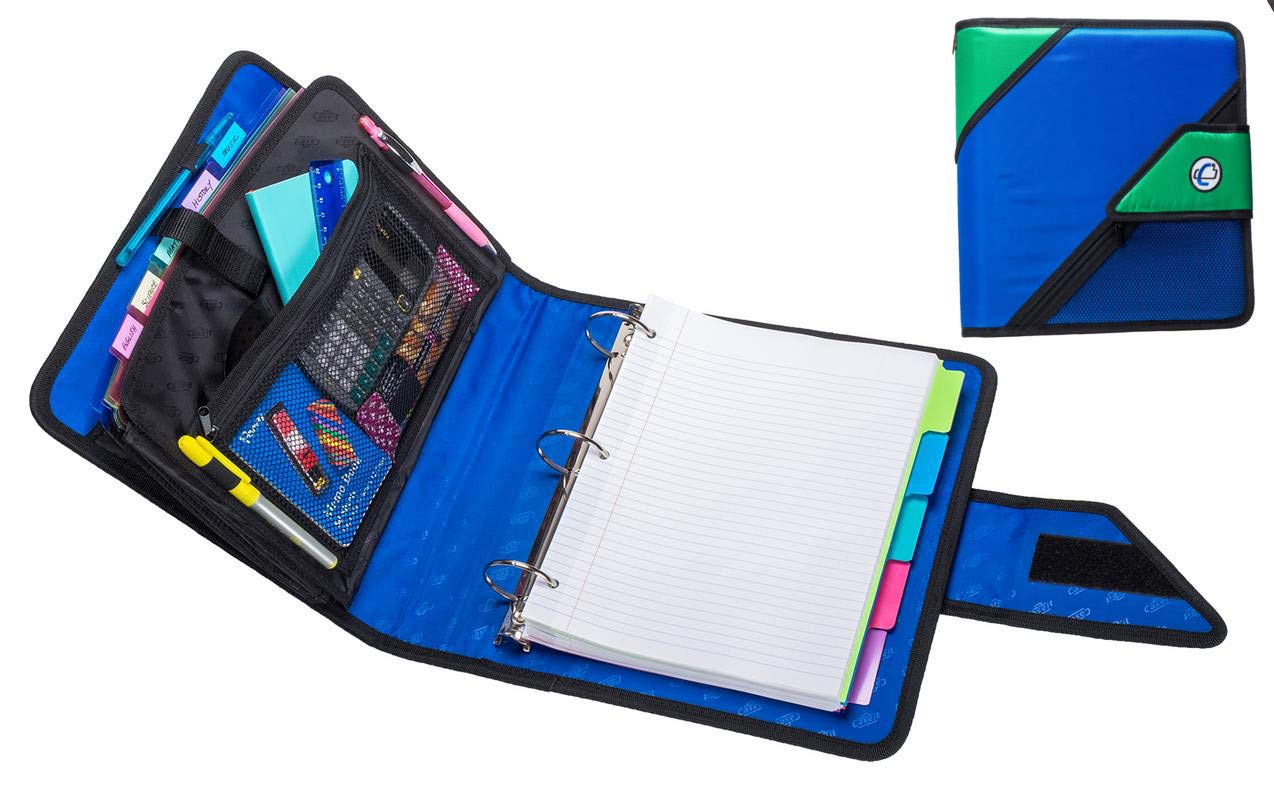 Case-It The Open Tab, 2'' O-Ring Strap Binder W/Tab File, Blue, Features 3-Ring Strap Binder, 2 O-Ring, Inside Mesh Pockets, 5-Color Tabbed, 6-Pocket Expanding File Folder