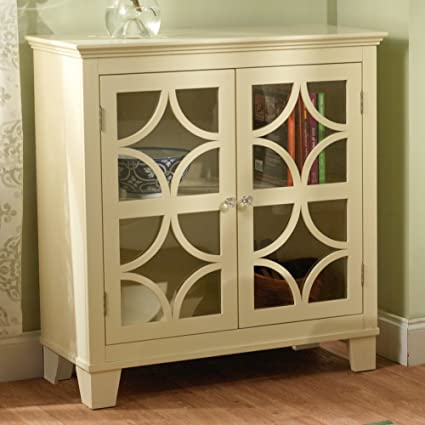 Target Marketing Systems Sydney Accent Storage Cabinet With Trellis Overlay  Glass Doors And 2 Shelves,