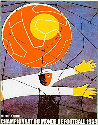 "11""x14""Travel Poster.1954 French World cup.Soccer Futbol.Orange.7215"