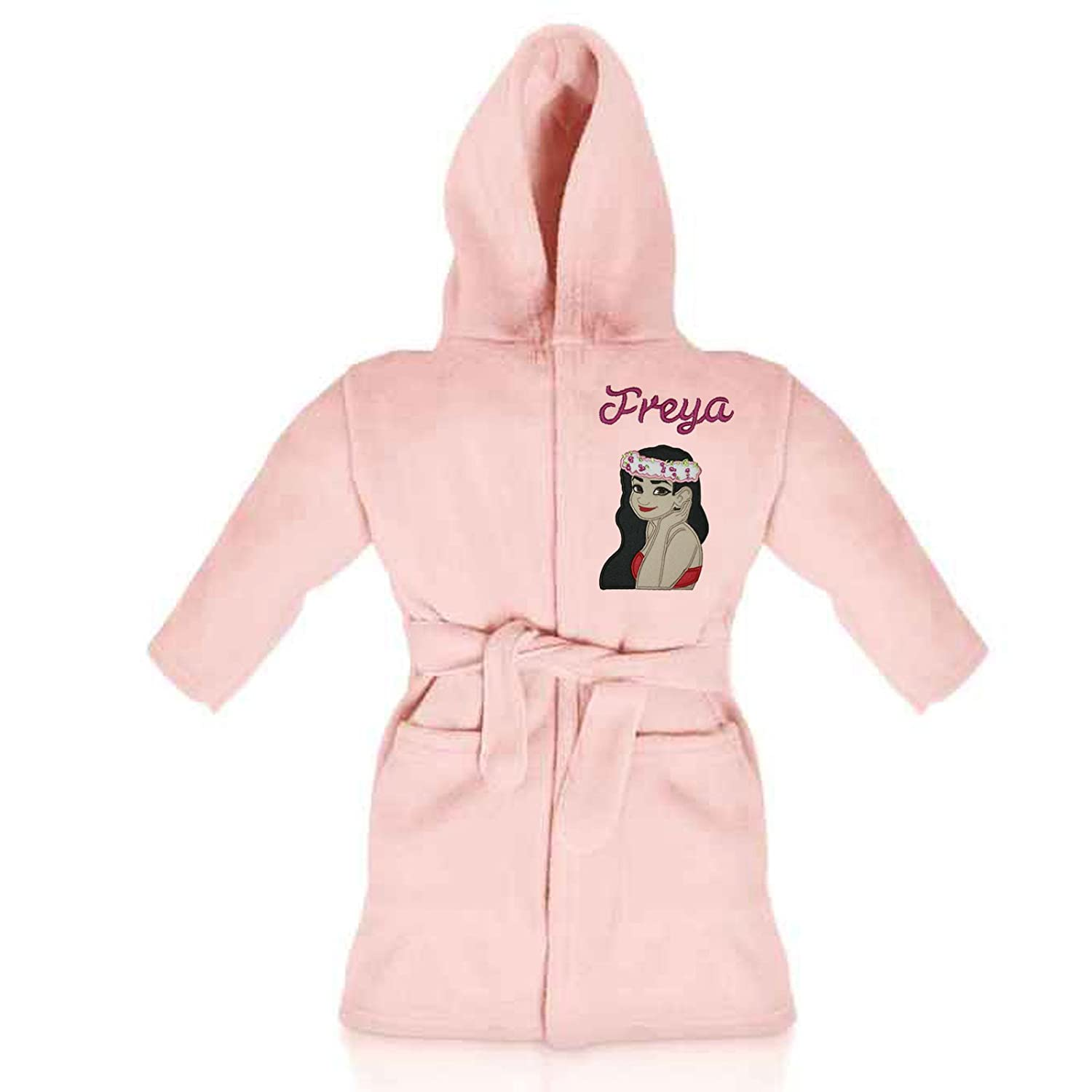 Oh Sew Simple Moana Island Princess Personalised & Applique Super Soft Fleece Dressing Gown/Bathrobe (Baby Pink - Moana 1)