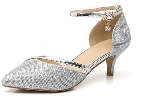 le plus populaire code promo recherche d'authentique WUIWUIYU Femme Bout Fermé Escarpins Chaussures de Cérémonie Mariage