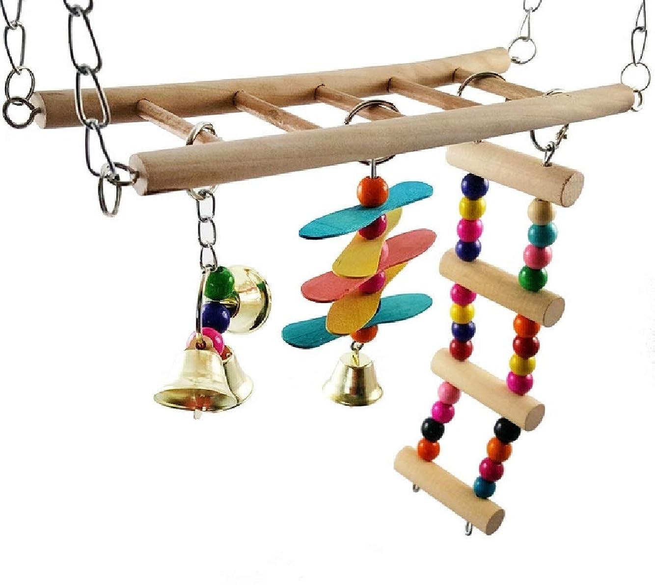 換気するグラフィック好ましい(なないろ館)鳥かご 小動物 ゲージ 木製 はしご 階段 おもちゃ アクセサリー 2段 中2階