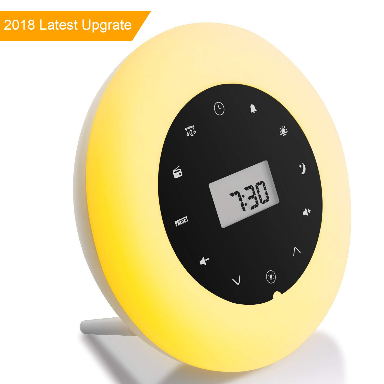 Premium Wake Up Light Alarm Clock Wake Up Lamp Radio White Noise Sound Sleep Light Bedside Lamp Colored Mood Light Sunrise Sunset Simulation Touch Control Multifunction product image