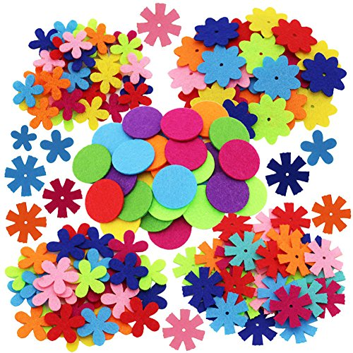 MAMUNU 4 Shapes 150pcs Craft Felt Flowers Mixed Color for The DIY Craft Decoration of Clothes, Bags, Shoes, -