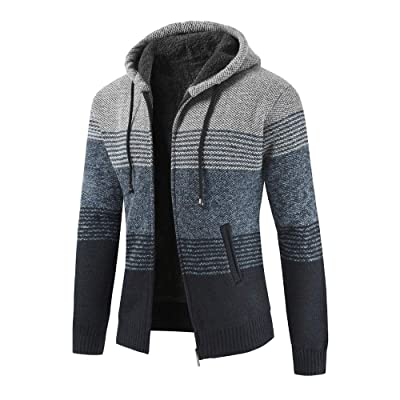 HDGTSA Mens Winter Cardigan Striped Zipper Long Sleeve Hoodie Outwear Tops Sweater Blouse Coats at Men's Clothing store