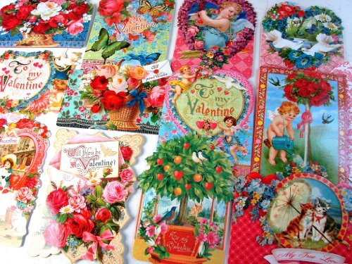 (24 Valentine Card Assortment By Punch Studio, Victorian Ephemera Collection of Hearts, Flowers, Kitty Cats, Roses, Cupid, Valentine's Day February 14)