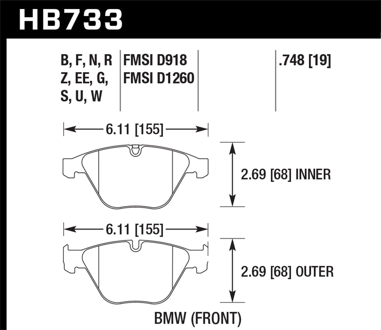 Hawk Performance HB733Q.748 Motorsports Brake Pads