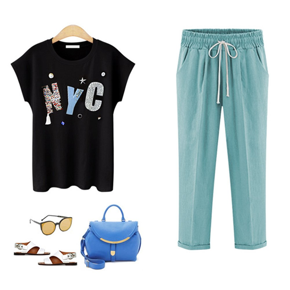 501c99fb0 Hibote 100% Cotton Trousers for Women, Ladies Loose Summer Pants Beach Pants  7/8 Length Casual Pants with Drawstring Soft Comfortable: Amazon.co.uk: ...