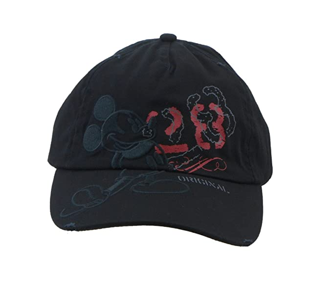 Disney Adult Mickey Mouse Black Tonal Distressed Cap with Adjustable ... 31cab961d0a