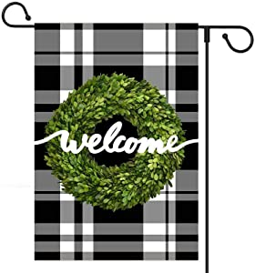XmasExp Welcome Garden Flag Vertical Double Sided, 12.5 x 18 Inch Black White Plaid Rustic Farmhouse Wreath Welcome Burlap Flag Yard Outdoor Decoration