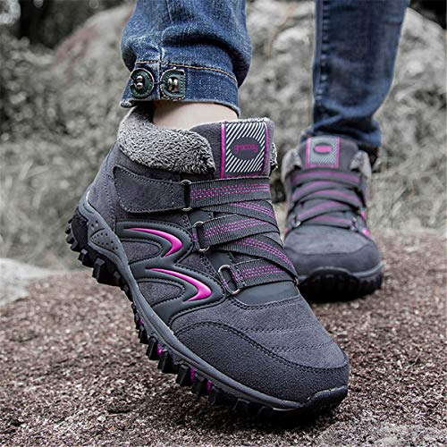 Lined Boots Low Slip Boots Winter Flat Up Snow Ankle Running Hiking Anti Lace Footwear Gray Lightweight Outdoor Shoes Boots On Slip Fur gracosy Rise Breathable Women Walking Trekking Warm zXpqnxT