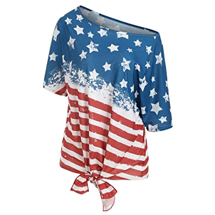 af9507569f Independence Day T Shirt for Women Short Sleeve Cold Shoulder Tunic Tops USA  Flag Print Red