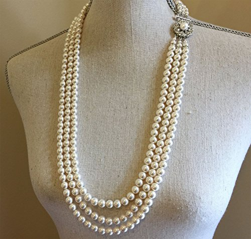 Classic Pearl Long Necklace Set Vintage style like Jackie O Earrings included with Fancy Rhinestone Clasp multi strand Swarovski pearls Cream Ivory or White wedding jewelry by Alexi Blackwell Bridal