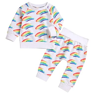 99df187aa2c Zerototens Baby Clothing Set, 2Pcs Toddler Kids Pyjamas Set Rainbow Print  Pullover White Long Sleeve T-Shirt Tops Pants Outfits Set Nightwear 0-24  Months: ...