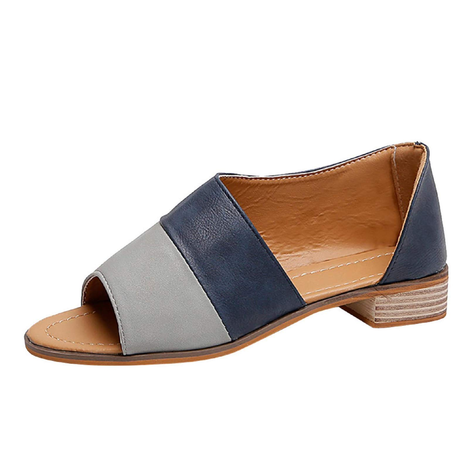 Womens Peep Toe Flat Sandals Color Block Casual Slip On Side Cutout D'Orsay Shoes Blue