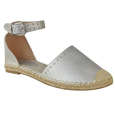 fbdb5faa14fa81 Fashion Thirsty Espadrilles Plates - Sandales D'Été - Clous/Bride - Style  Rock - Femme: Amazon.fr: Chaussures et Sacs