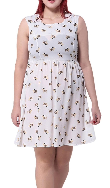 Bigood Plus Size Liebe Druckmuster Damen Ohne Armel Minikleid Cocktailkleid Party Kleid Weiss