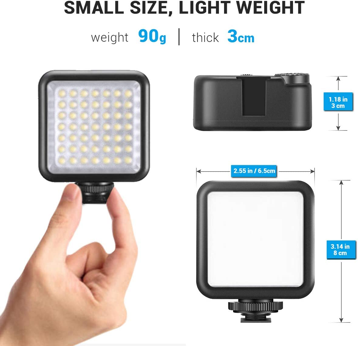 for Canon Nikon Sony DSLR Cameras for DJI Osmo Ronin S SC Smooth 4 Gimbal MOSHUSO 5.5W Dimmable LED Camera Video Light Panel with 3 Cold Shoe