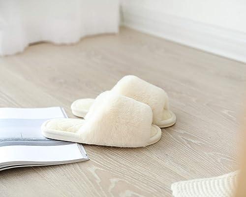 Chaussons Femme pour Maison Ext/érieur Brides Crois/ées Poilues Ultra Doux Luxueuses Confortables Sandales Plates en Fausse Fourrure