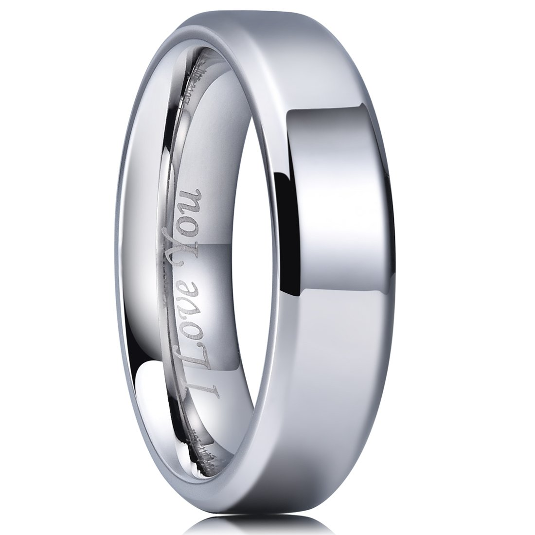 King Will BASIC 6mm Stainless Steel Ring Polished Plain Beveled Edge Wedding Band Laser Etched I Love You 10