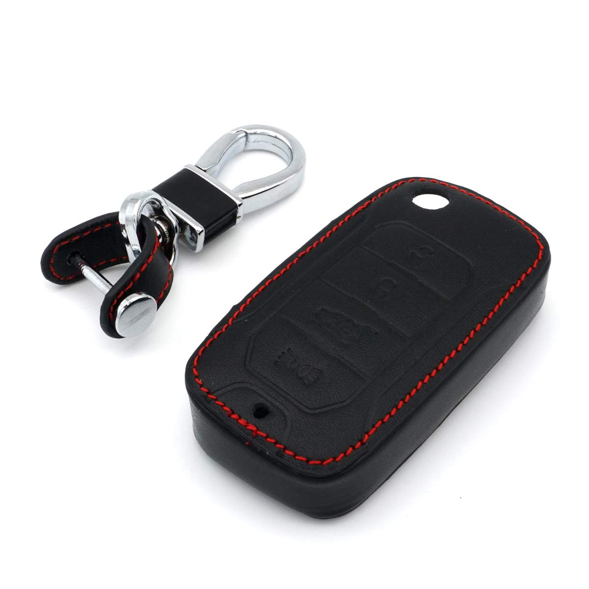 RoyalFox Black Genuine Leather 4 Buttons flip Folding Remote Key Fob case Cover Keychain for 2017 2016 2015 Jeep Renegade