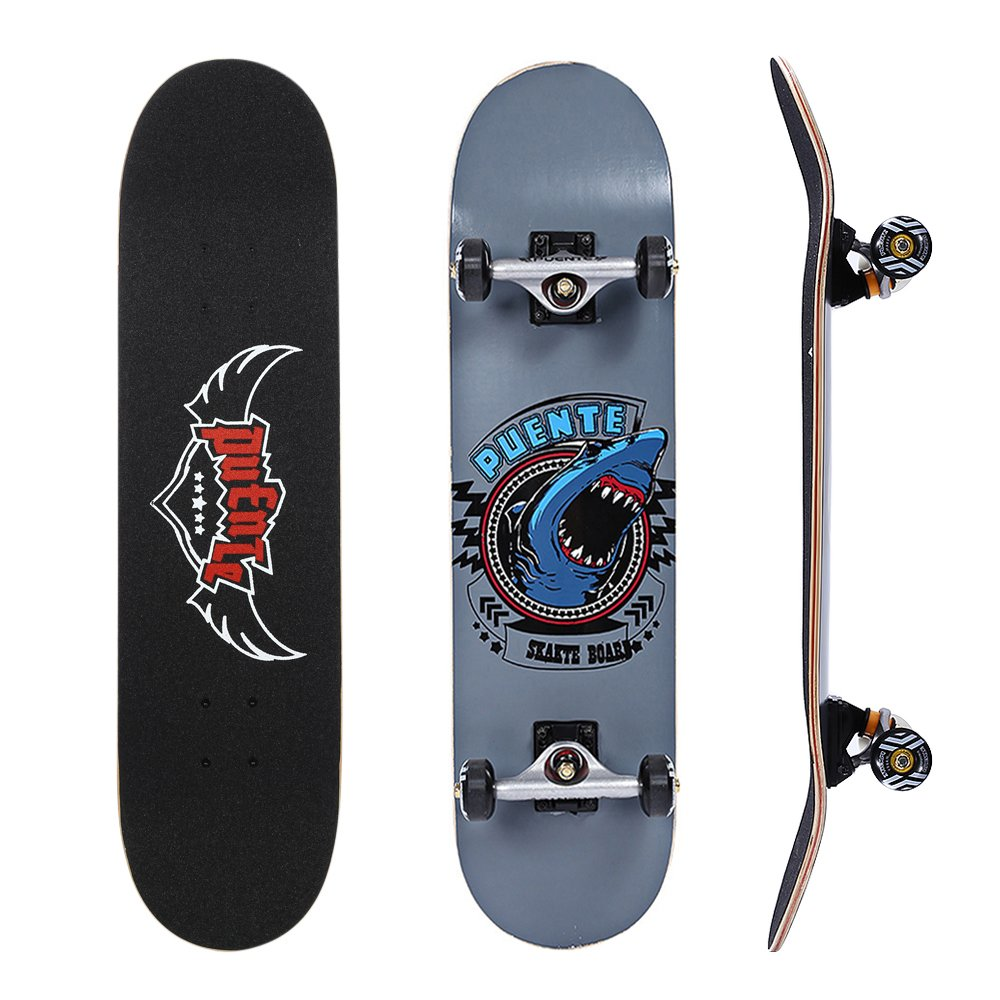 PUENTE 608 Skate Skateboards Complete with Ergonomic Mellow Concave, ABEC-9 BBS,95A Anti-Slip Smooth and Mute Wheel for Adults and Kids Beginners, 400lbs (Gray)