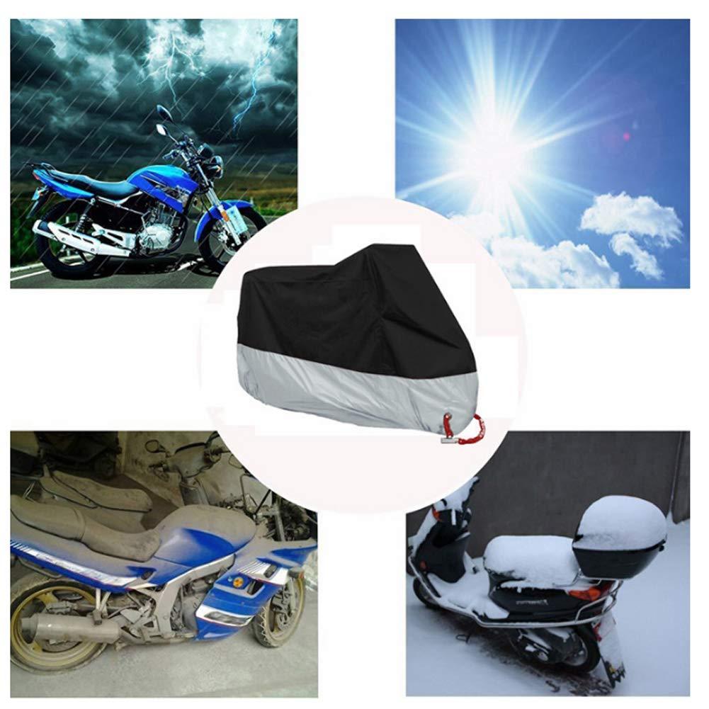 antipolvere Telo protettivo per moto dai raggi UV della moto impermeabile e resistente al vento neve per esterni pioggia nero XXL 245 x 105 x 125 cm