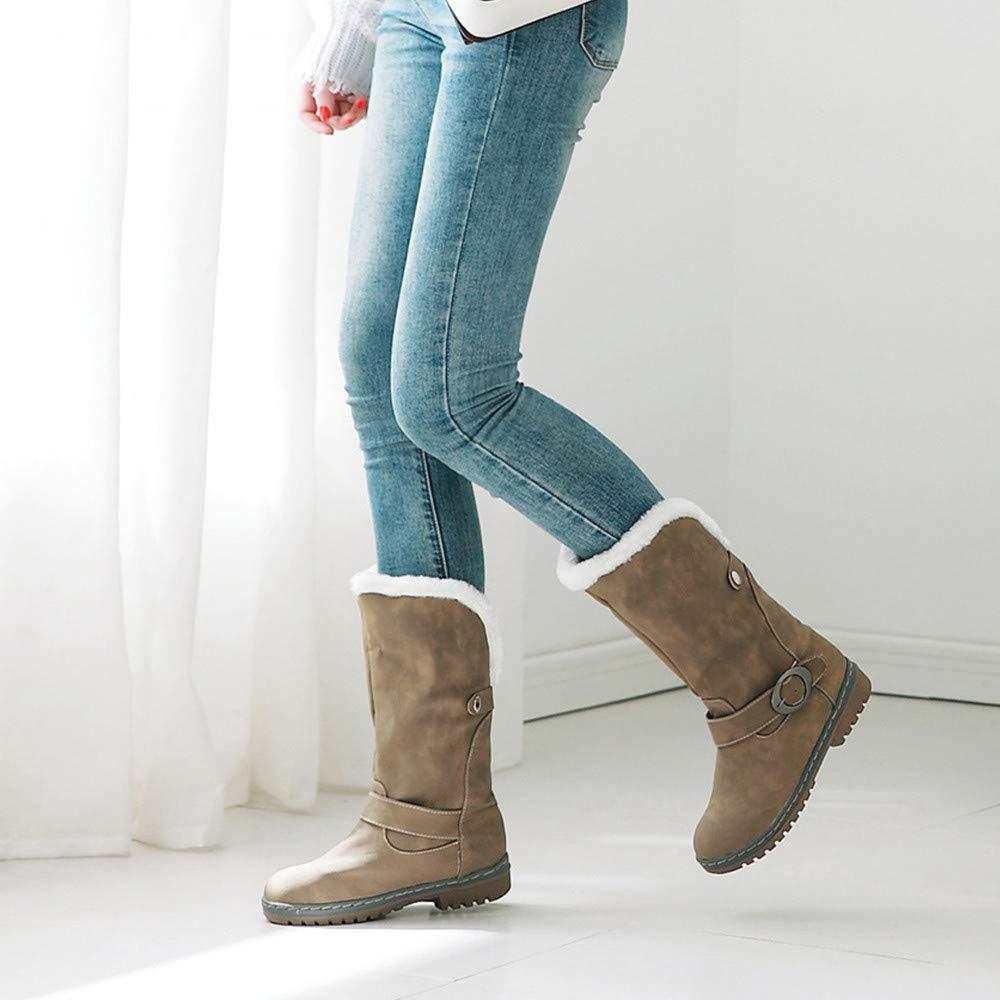 JiaMeng Botas De Nieve Skidproof Felpa Algodón Acolchado Cuña Zapatos Mantén Las Botas de Nieve cálidas para el Invierno Botas de Gamuza Zapatos Botas con ...