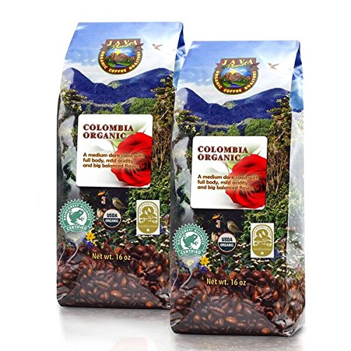 Java Planet - Colombian USDA Organic Coffee Beans, Fair Trade, Low Acid, Medium Dark Roast, Arabica Gourmet Specialty Grade A - 2 1lb bags