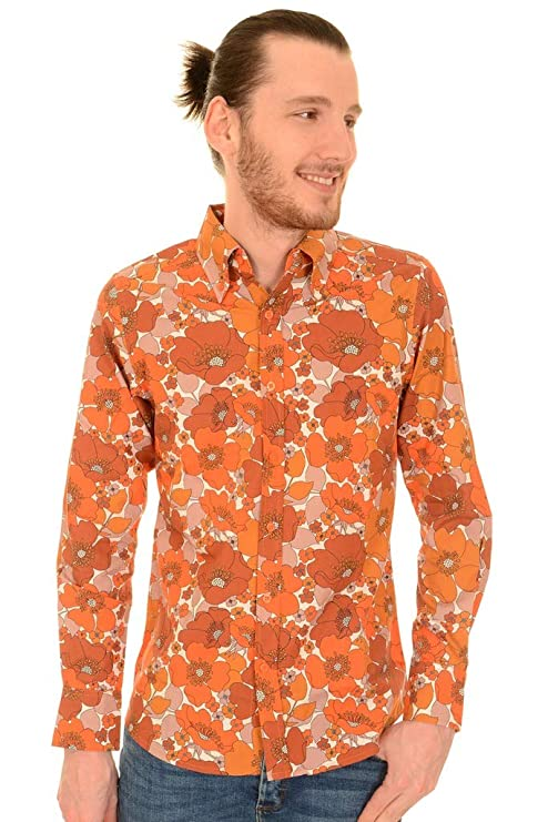 Mens Vintage Shirts – Casual, Dress, T-shirts, Polos Run & Fly Mens 60s 70s Retro Burnt Orange Floral Button Down Long Sleeve Shirt £29.95 AT vintagedancer.com