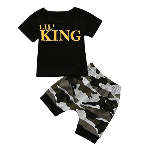 f1a0f52cf669 Amazon.com  Toddler Kids Baby Boys Summer Casual Letter King T shirt  Tops+Camouflage Shorts Outfits Clothes Set  Clothing