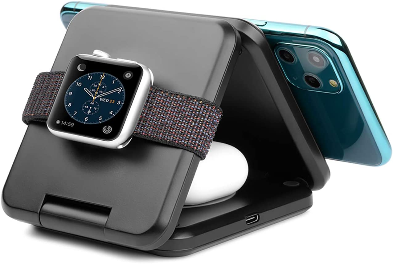 Foldable Wireless Charger. ZIKU 3 in 1 Fast Wireless Charging Station Stand Pad for Apple Watch6 5 4 3 2, AirPods, Compatible with iPhone 12/11 Pro Max/X/XS/XR/8Plus(Include Adapter)