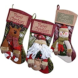 Shmily Girl Christmas Stockings 3 Pcs Set Big Size Classic Toys Stockings (Style 2)