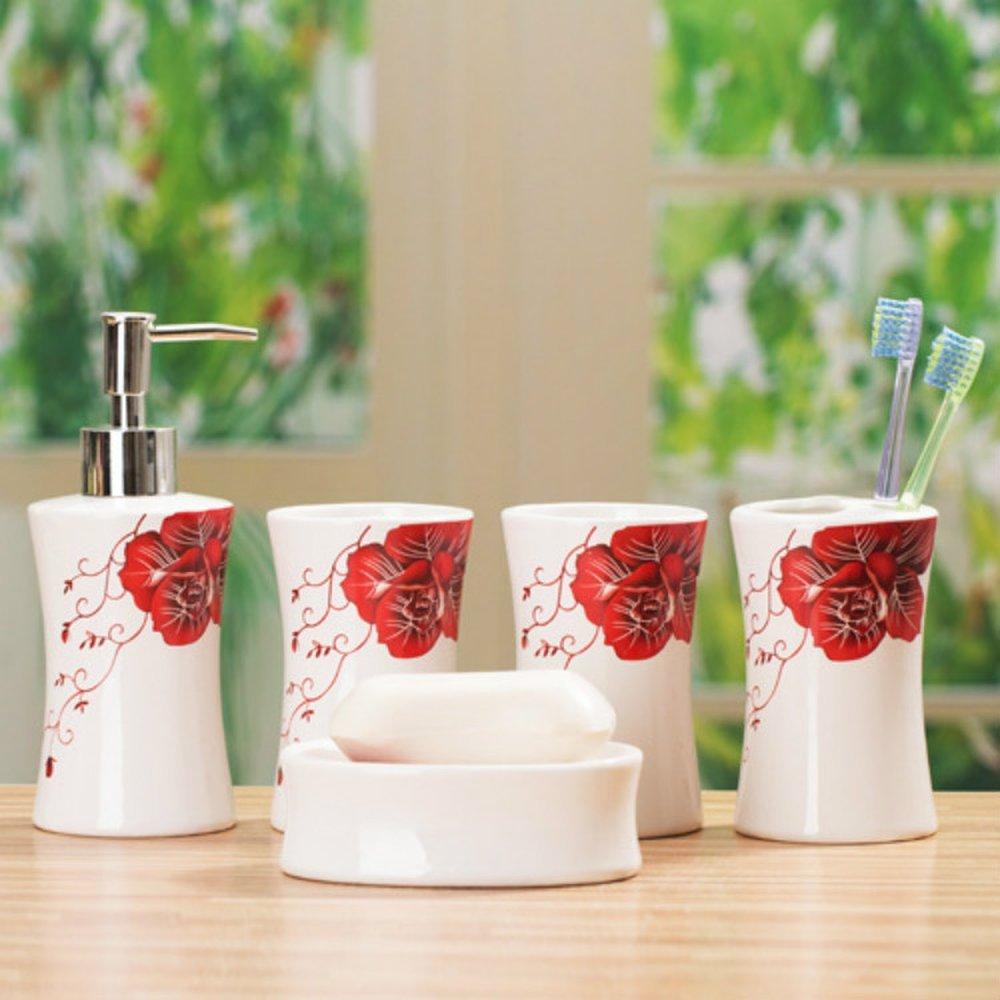 Adornos de cerámica para baño con diseño de rosas rojas: Amazon.es: Bricolaje y herramientas