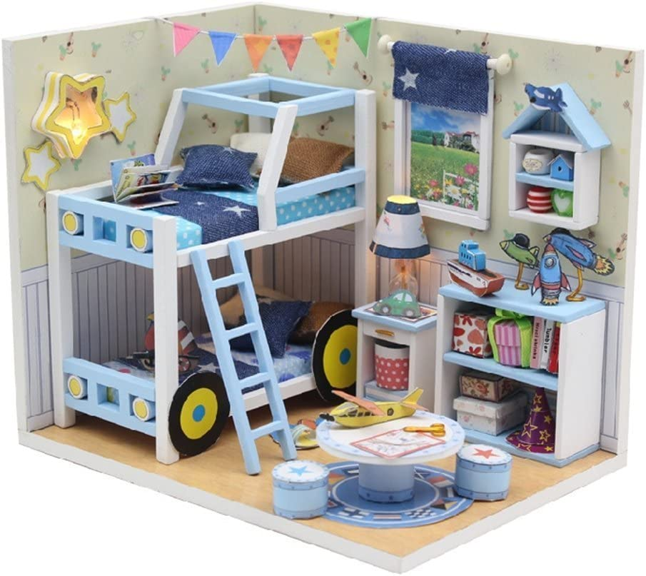 Flever Dollhouse Miniature DIY House Kit Creative Room With Furniture and Glass Cover for Romantic Artwork Gift( Sound of Stars )