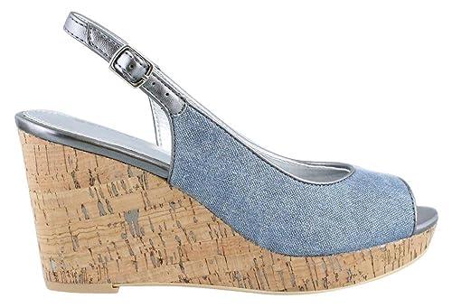 4e046ab0ea1367 BANDOLINO Women s Avito Dark Blue Pewter Fabric Sandal  Buy Online ...