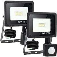 Aurorast 2× Foco Led Exterior Con Sensor De Movimiento 10W, 1000LM Impermeable IP66 Proyector, Luz de Seguridad sensor…