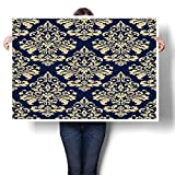 "SCOCICI1588 1 Piece Canvas Wall Art Wallpaper Baroque Damask Vector Background g and Blue Ornament Painting,16"" W x 12"" L Abstract Art Painting - Modern Home Decor (Frameless)"