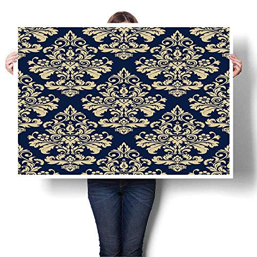SCOCICI1588 Canvas Prints Wall Art Wallpaper Baroque Damask Vector Background g and Blue Ornament Painting,56