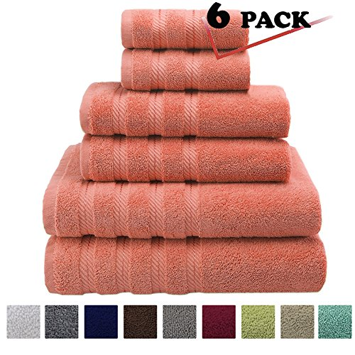 Premium, Luxury Hotel & Spa, 6 Piece Towel Set, Turkish Towels 100% Cotton for Maximum Softness and Absorbency by American Soft Linen, [Worth $72.95] (Malibu Peach) - Youth Full Captain Bed