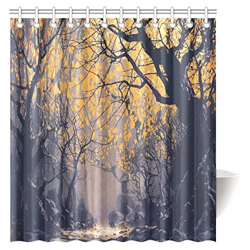 InterestPrint Landscape Painting Shower Curtain, Night Scene of Autumn Forest Fabric Bathroom Shower Curtain with Hooks, 66 X 72 Inches (Autumn Shower Curtain 66)