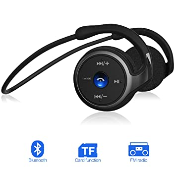 Auriculares Bluetooth 4.1, 3-en 1 Estéreo Auricular Deportivo, Cascos Inalámbricos con Micrófono, Soporte Tarjeta TF Jugar (hasta 32 G) y Radio FM, ...