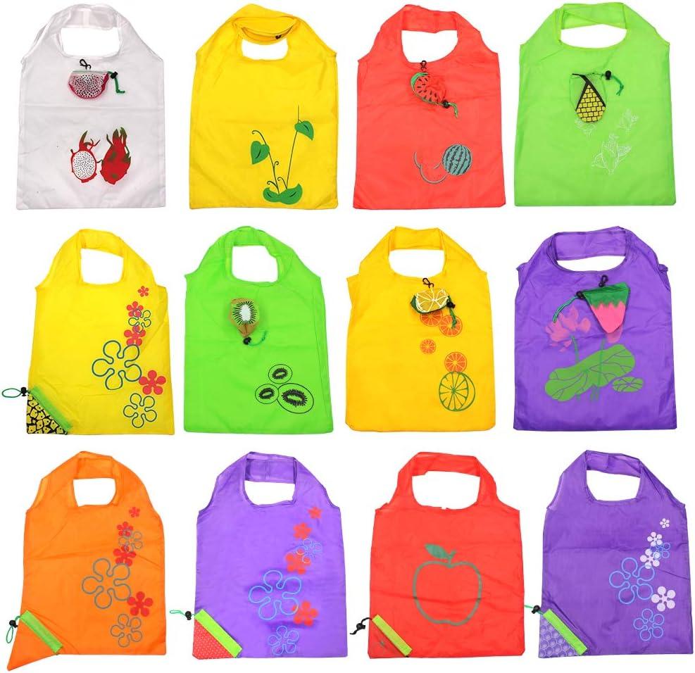 12 Pcs Fruits Reusable Shopping Bags, Foldable Washable Eco Friendly Bags Shopping Tote Bag (Fruits)